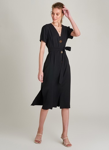 Ng Style Düğme Detaylı Elbise Siyah